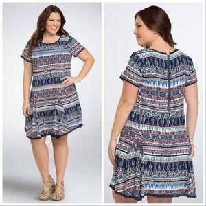 MULTI PRINT CHALLIS TEE DRESS Size 0